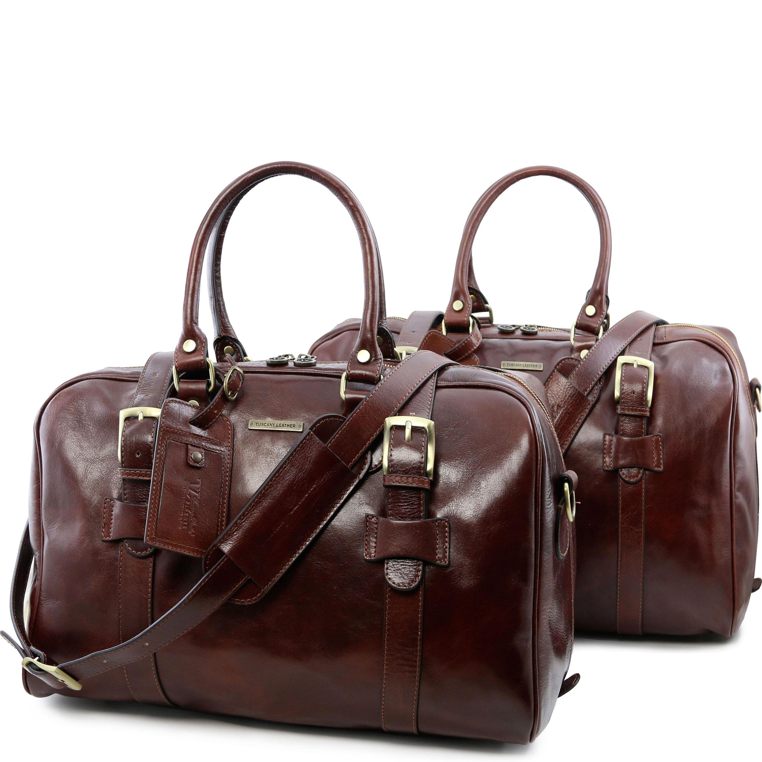 Tuscany Leather - TL Voyager - Sac de voyage en cuir avec boucles - Petit modèle Marron - TL141249/1 5ADHHdVA7r