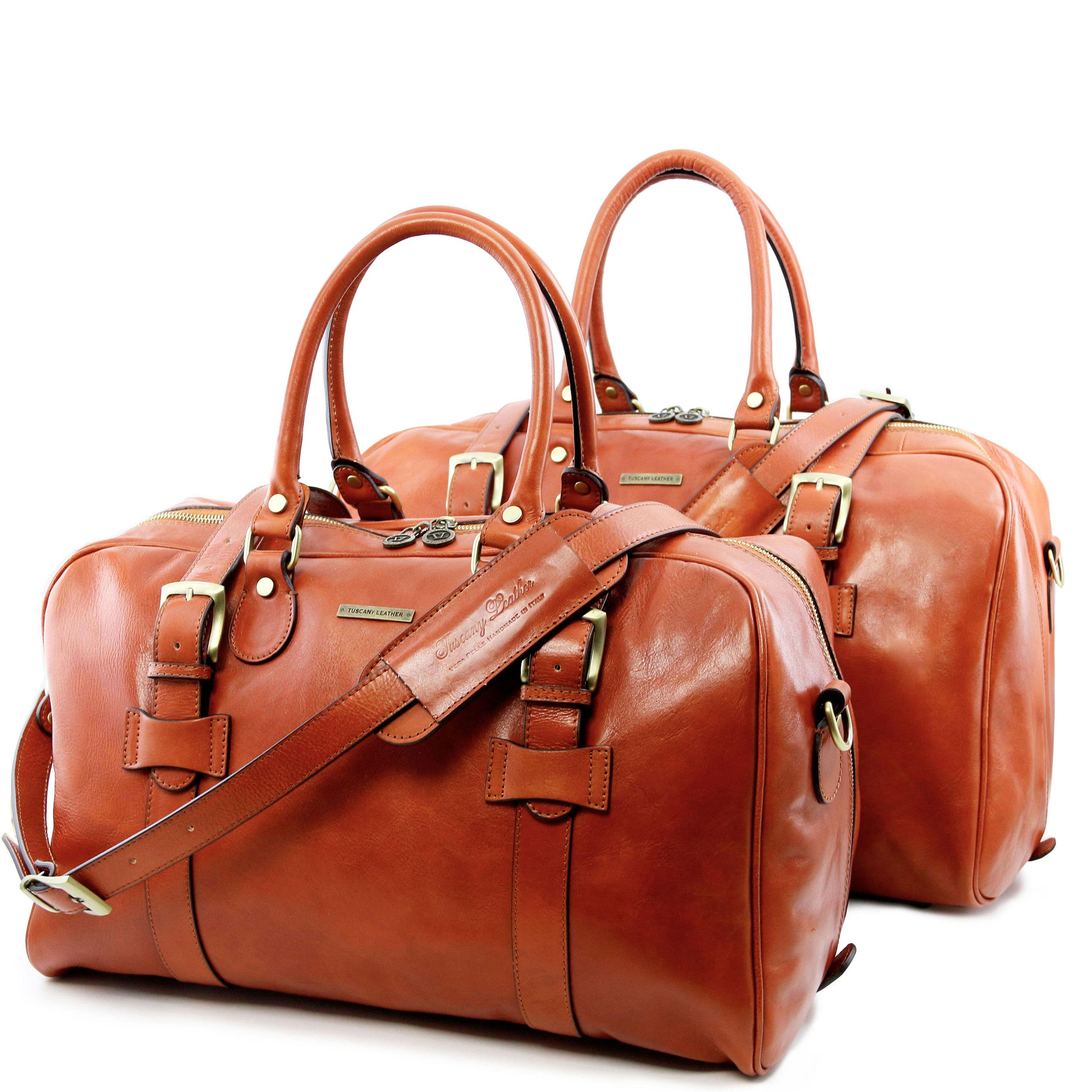 Tuscany Leather TL Voyager Sac de voyage en cuir avec boucles - Petit modèle Miel VOFZNC