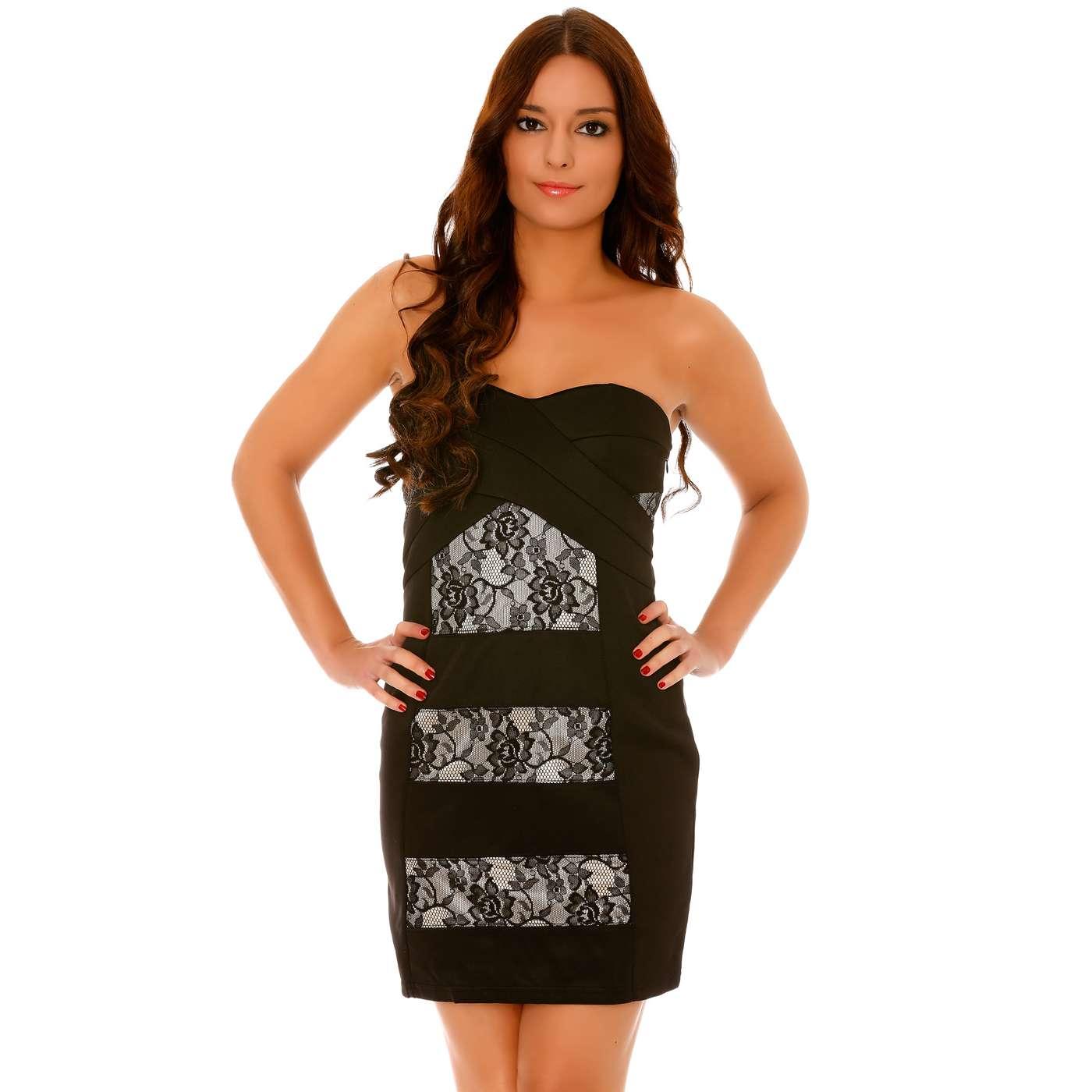 19c82e91964 Produit Neuf - Miss Wear Line - Robe de soirée bustier courte noire style  bandage à empiècements dentelle