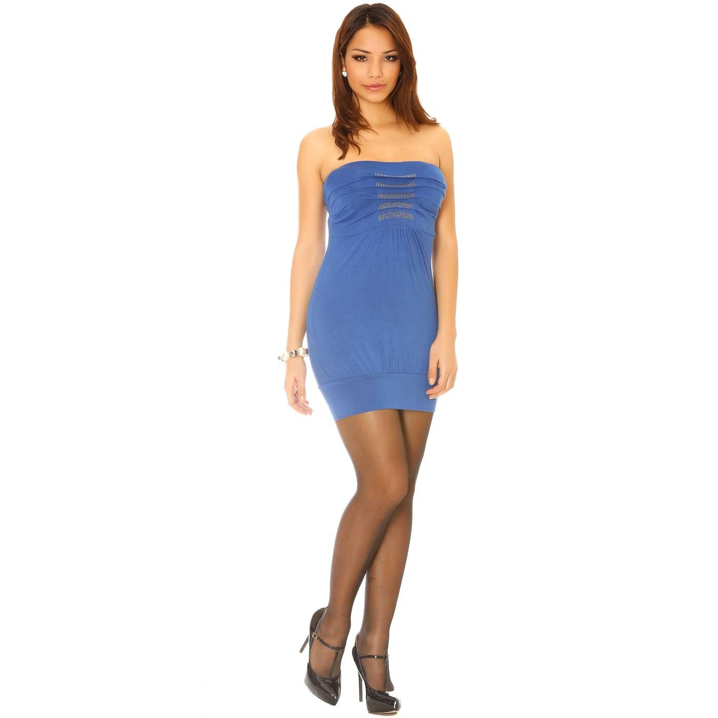 miss wear line robe courte et l g re bustier robe d 39 t bleu roi strass. Black Bedroom Furniture Sets. Home Design Ideas