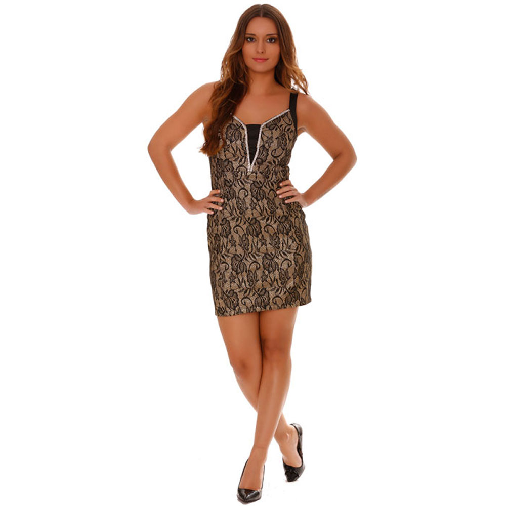miss wear line robe de soir e doubl dentelle dor e avec strasseffet brillant. Black Bedroom Furniture Sets. Home Design Ideas