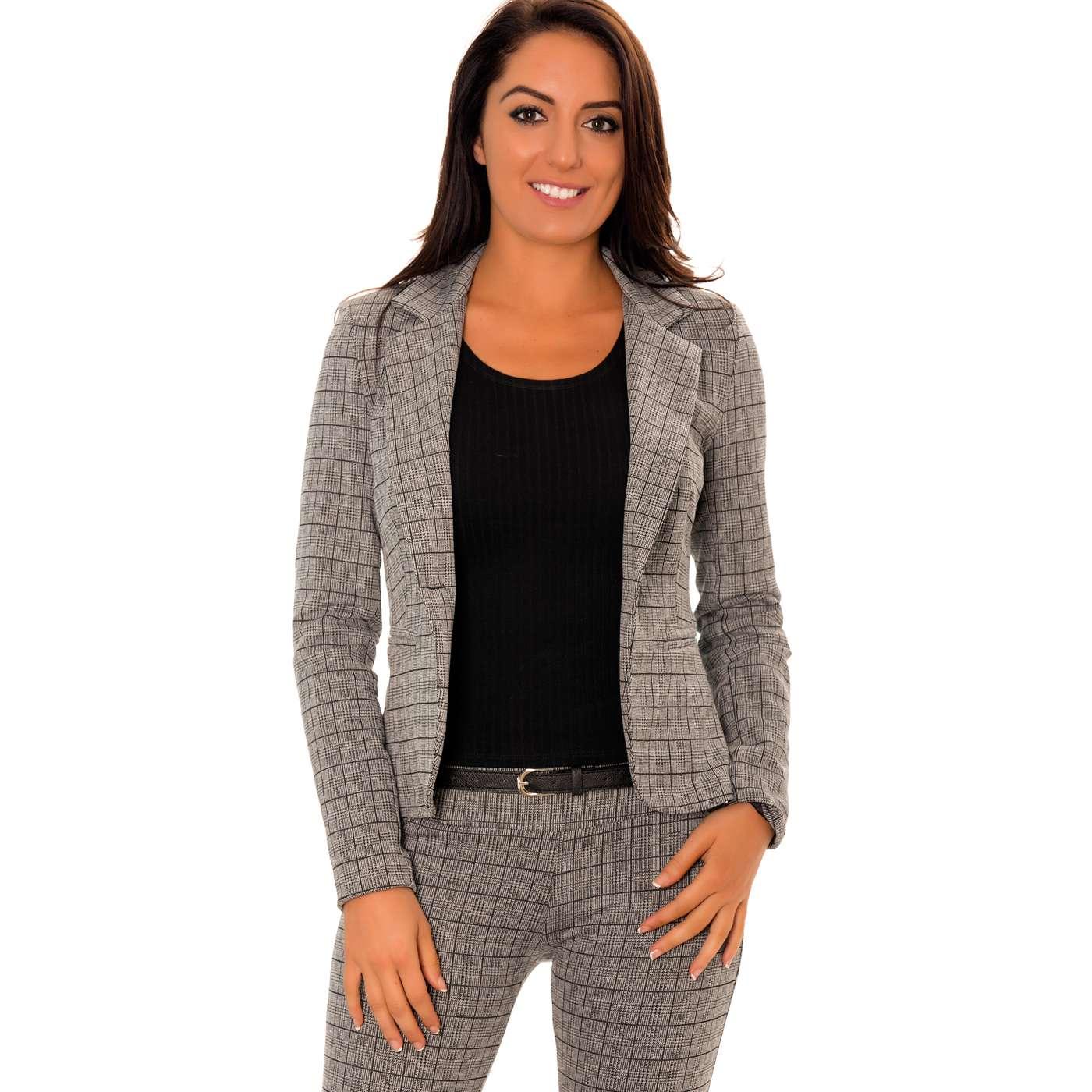 miss wear line veste blazer gris e carreau rayure noir veste femme. Black Bedroom Furniture Sets. Home Design Ideas