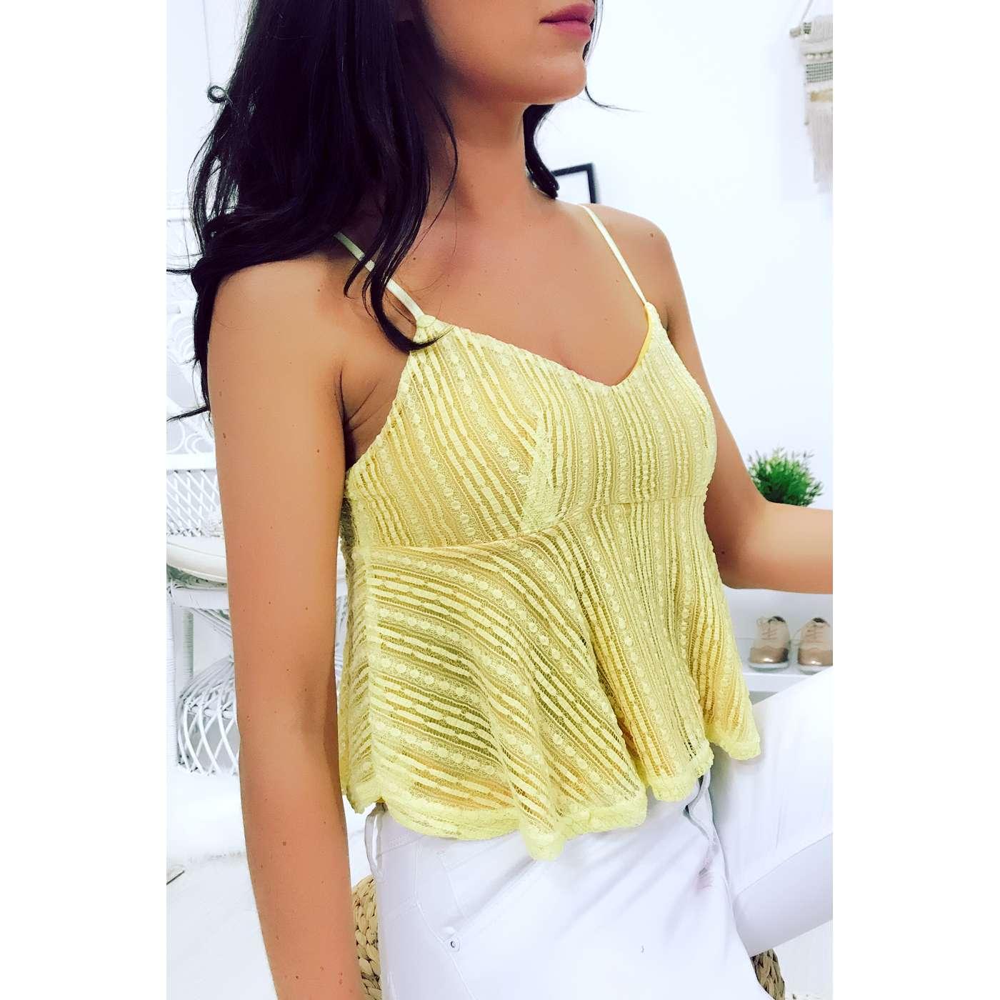 Produit Neuf - Miss Wear Line - Crop top jaune en dentelle à fines bretelles c4004541c2f