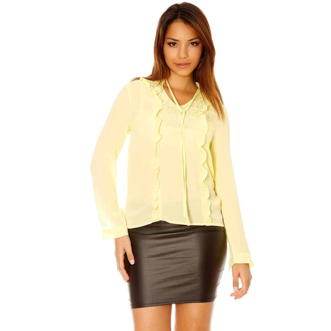 miss wear line haut jaune manche longue dentelle et froufrou. Black Bedroom Furniture Sets. Home Design Ideas