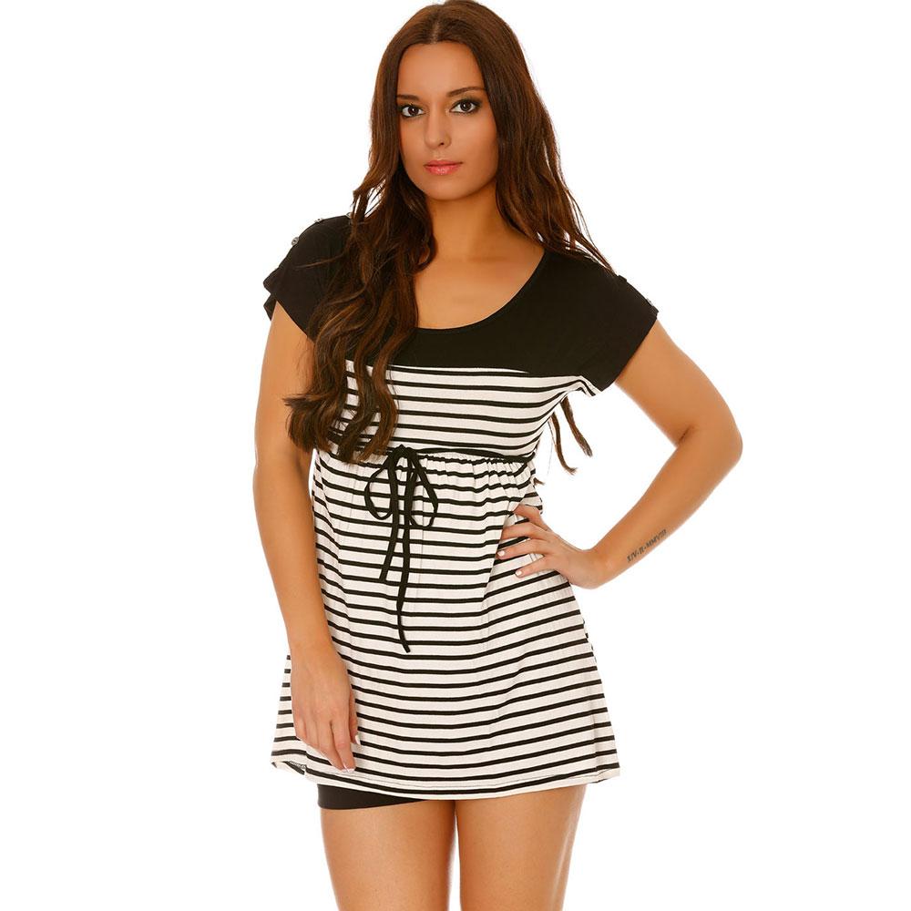 miss wear line tee shirt long noir et blanc style marini re boutons sur les paules et lien. Black Bedroom Furniture Sets. Home Design Ideas