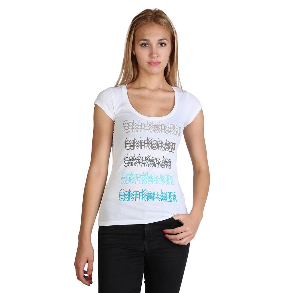calvin klein t shirt pour femme cwp77g blanc blanc. Black Bedroom Furniture Sets. Home Design Ideas